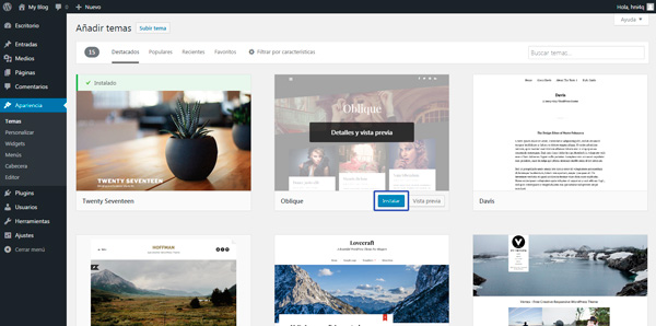 instalar tema wordpress