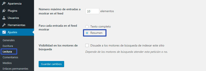 resumen extractos wordpress