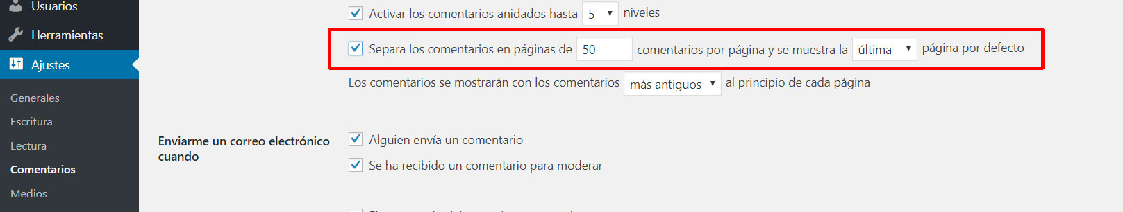 paginacion comentarios wordpress