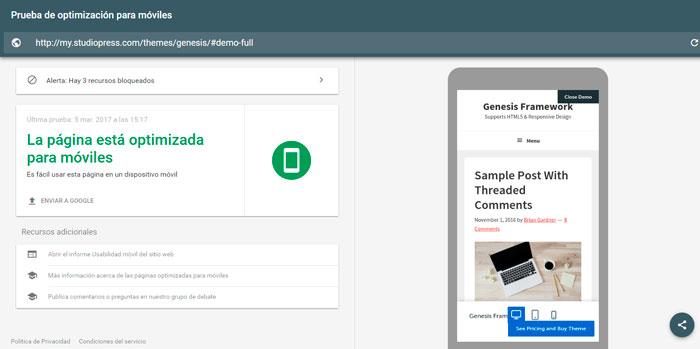 prueba version responsive web