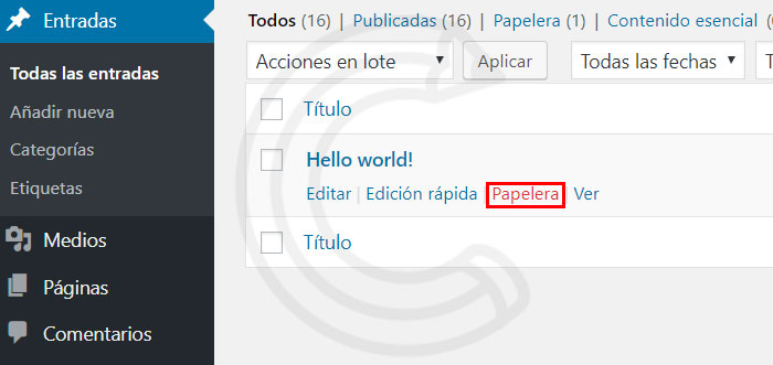 borrar entrada wordpress