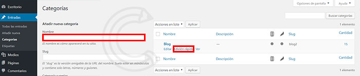 categorias en wordpress